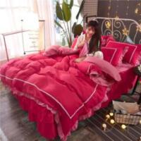 床罩床裙四件套公主风单人韩版1.5米床笠婚庆带花边欧式北欧风ins
