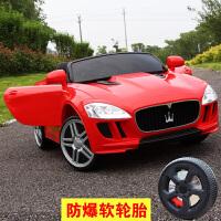 儿童电动车四轮摇摆童车双驱动遥控男女婴儿小孩玩具车可坐人汽车AM 红色 所有功能+摇摆+皮座+软轮