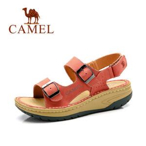 骆驼凉鞋女2018夏新款 坡跟真皮厚底休闲女鞋 增高平底户外沙滩鞋