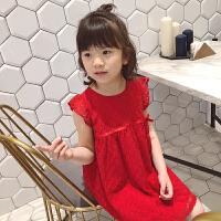 女童红色蕾丝纱裙2018韩版夏装新款儿童宝宝小飞袖连衣裙公主裙子