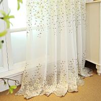 韩式田园绣花窗纱定制客厅卧室飘窗阳台成品白色纱帘遮光窗帘布料