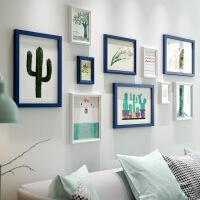 新房装饰照片墙实木相框组合淡雅格调相片墙客厅房间现代简约墙画 整套 送安装配件