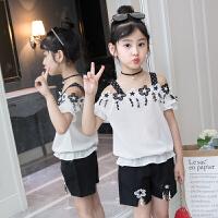 童装套装夏季新款韩版中大女童吊带一字肩T恤儿童短裤两件套