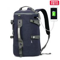 男士双肩包户外大容量电脑旅行包时尚潮流学生书包休闲帆布男背包s6 蓝黑色(USB款)