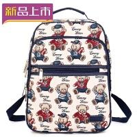 2018新款小熊双肩包寸电脑背包女帆布大高中学生书包维尼旅行包 蓝色(可装A4杂志)