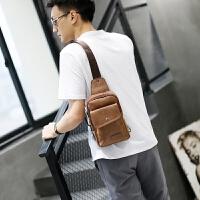 男士胸包韩版运动背包休闲单肩包腰包男包包学生斜挎包新款皮 咖啡色