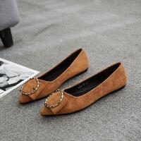 春季新款韩版尖头平底鞋绒面浅口平跟单鞋女鞋蝴蝶结四季鞋豆豆鞋 黄驼色819-17