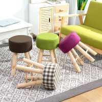 实木凳子家用圆凳创意客厅布艺矮凳化妆凳沙发凳成人小板凳梳妆凳