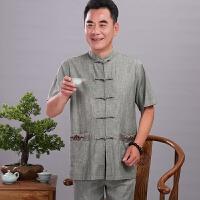 中年唐装男中老年人亚麻中山装爸爸夏装棉麻套装爷爷短袖老人衣服
