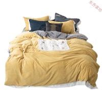 冬季保暖牛奶绒床上用品四件套小球球贴布绣1.8米 2.0床单被罩床笠 【被套加大】