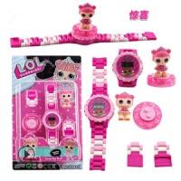 冰雪公主忍者旋转积木儿童电子手表DIY拼装玩具