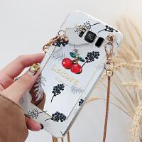三星S8手机壳s8plus保护套s8+硅胶calaxy软sm-g9350潮g9500带链条挂绳g95