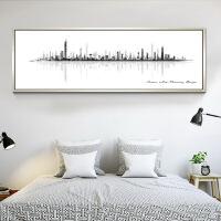北欧水墨抽象画卧室床头装饰画黑白简约横版客厅酒店宾馆主卧挂画