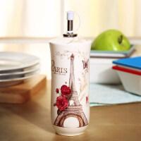 爱屋格林创意美式厨房用品油壶酱印花调味瓶陶瓷油瓶家用350ml