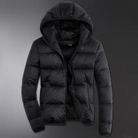 羽绒服男短款冬季韩版修身轻薄连帽男士羽绒服外套加厚防寒服潮流 08501黑色