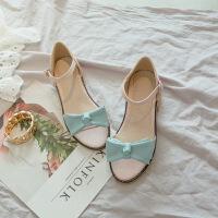 韩版女童凉鞋大童蝴蝶结公主学生鞋2018夏季新款童鞋小女孩高跟鞋SN9900