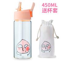儿童水杯夏季卡通可爱个性创意便携玻璃杯子韩国孕妇带吸管杯a227