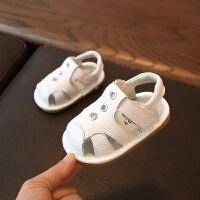 拥抱熊夏季新款婴儿学步鞋 纯色软底小童沙滩叫叫鞋宝宝凉鞋