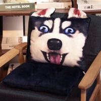 哈士奇连体坐垫学生椅垫椅子座垫女垫子餐椅办公室屁股靠垫一体冬 40x80厘米