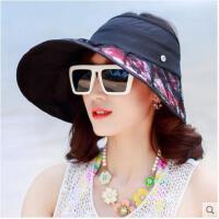 可折叠大沿蕾丝花朵折叠防晒帽遮阳帽女韩版防紫外线太阳帽子
