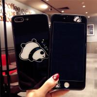 日韩熊猫苹果8p可爱钢化膜iPhone6s全屏前后7plus卡通彩膜X手机壳 7p/8p 5.5黑趴趴钢化膜+玻璃壳