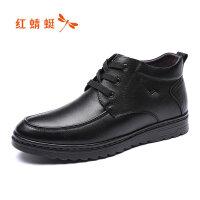 【领�涣⒓�150】红蜻蜓男鞋冬季加绒棉鞋爸爸皮鞋英伦商务百搭休闲鞋高帮
