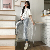 夏装新款韩版学院风百搭宽松显瘦蕾丝拼接长款连衣裙女短袖T恤裙