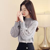雪纺衫女长袖秋装2018新款网纱上衣服韩版秋季气质洋气小衫潮
