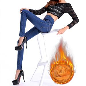 SOOSSN 2018冬季新款韩版大码牛仔裤女长裤加绒小脚裤加厚保暖铅笔裤弹力裤608