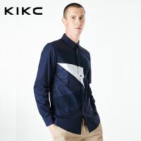 kikc男装春夏季衬衫男新款青少年韩版潮流印花拼色修身长袖衬衣男