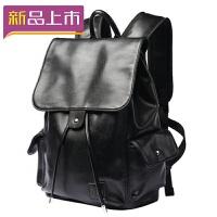 2018潮双肩皮包男女士大容量青年翻盖14寸电脑书包软皮旅行背包防水 黑色