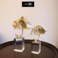 现代创意简约铜水晶摆件欧式家居装饰品客厅书房办公室工艺品摆设