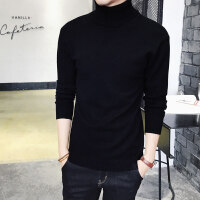 男士纯色高领毛衣加厚保暖针织衫紧身长袖韩版打底衫冬季黑色yly