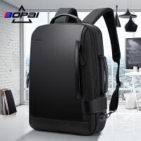 BOPAI博牌电脑背包男户外商务书包出差多功能男包旅行休闲双肩包
