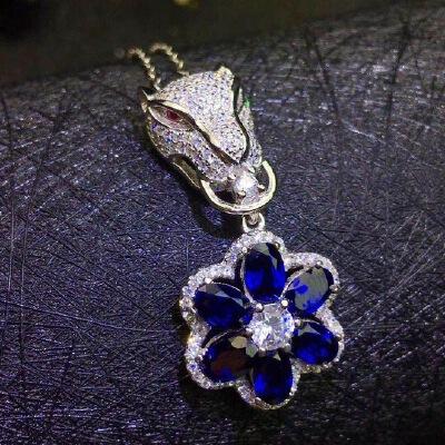 天然蓝宝石豹子头吊坠,蓝宝石四大宝石之一