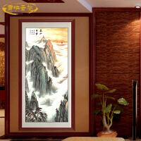 国画泰山日出有山无水画 客厅老板办公室风水画靠山图装饰画挂画 竖-