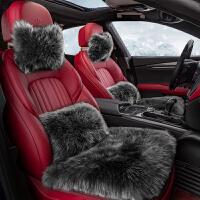澳洲纯羊毛汽车座垫冬季毛绒坐垫三件套无靠背皮单片小方垫可爱女