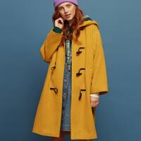【全场2件2.5折,到手价:174.8】美特斯邦威毛呢大衣女牛角格子长款羊毛外套潮冬装新款关晓彤