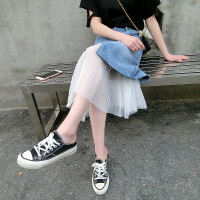 牛仔半身裙夏女2018新款韩版中长款夏季高腰百搭时尚网纱拼接裙子 图片色