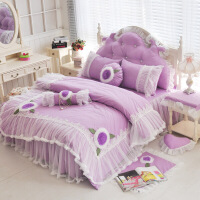 棉韩版公主 全棉梦幻床裙3四件套粉色婚庆床上用品蕾丝被套 紫罗兰 花儿朵朵 紫色