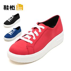 达芙妮集团 鞋柜秋季系带休闲厚底帆布女单鞋