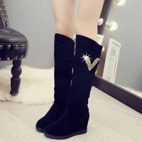 雪地靴 女士加绒保暖长筒靴2019秋冬季韩版女式学生内增高套筒棉靴子