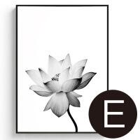 睡荷 现代简约客厅装饰画荷花餐厅艺术画墙上黑白挂画玄关花卉画