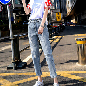 欧若珂  2018夏装破洞牛仔裤女直筒九分宽松bf潮新款女装韩国乞丐裤子