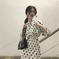2019春季新款沙滩裙女复古百搭长裙夏修身显瘦波点显瘦超仙连衣裙 白色