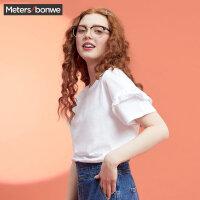 【满299减200】美特斯邦威短袖t恤女韩版基础款2018夏季可爱木耳边小衫百搭潮8
