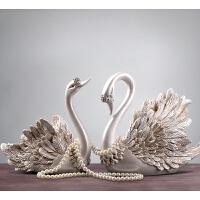 欧式家居装饰品酒柜摆件陶瓷天鹅客厅电视柜工艺品 结婚礼物 创意