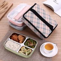 儿童学生便当盒多层分隔餐盒 不锈钢分格饭盒双层隔热保温