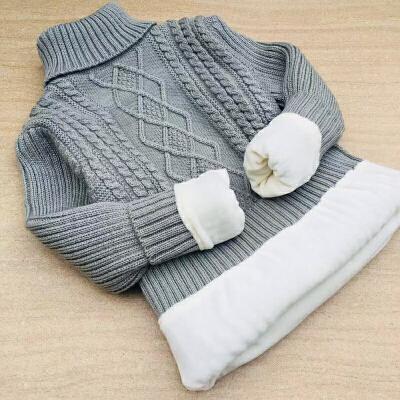儿童毛衣冬男童女童高领针织衫圆领加厚中大童打底衫白色加绒