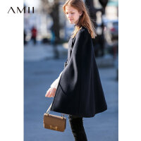 Amii极简赫本风100%羊毛假两件斗篷上衣女2018秋冬新宽松毛呢外套